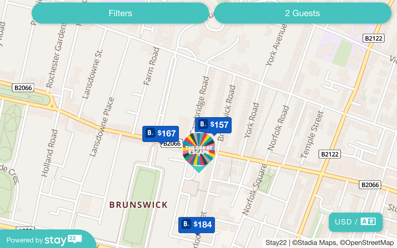 Map of hotels - Click for more